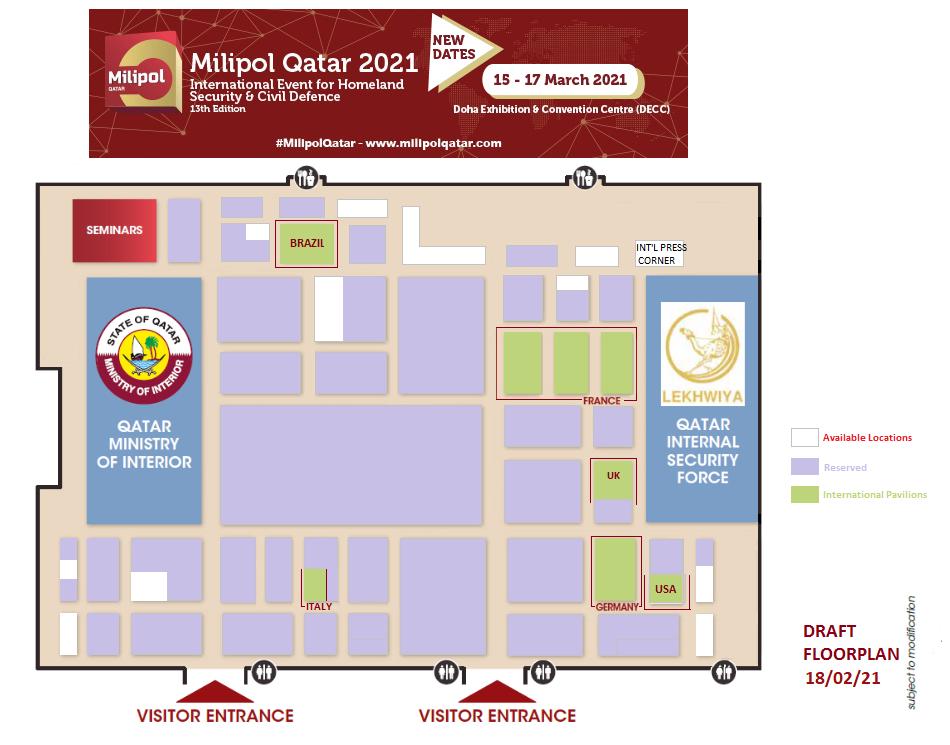 Milipol Qatar 2021 Sales Floor Plan
